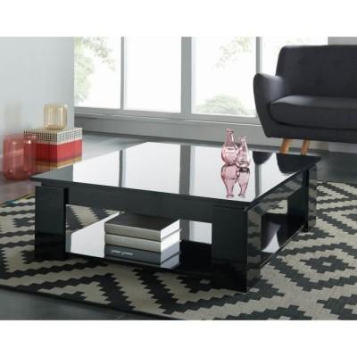 Manhattan table basse carrée noir brillant