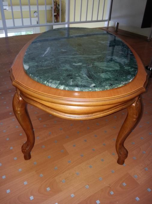 Table basse merisier marbre