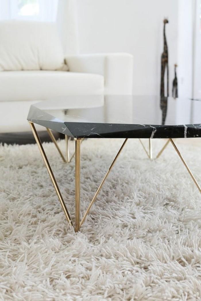 Table basse marbre blanc bois