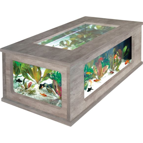 Aquarium table basse chene et wenge