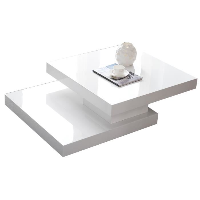 Table basse carrée plateau pivotant