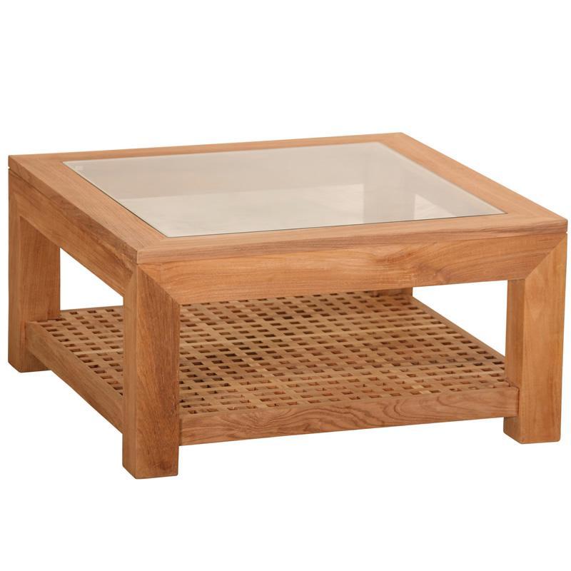 Table basse carrée bois et verre