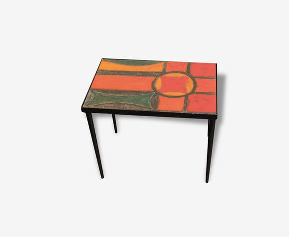 Table basse vintage orange