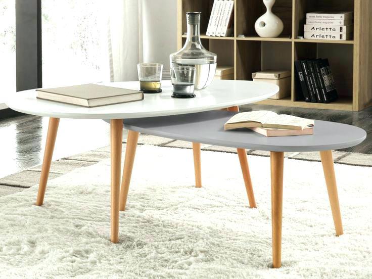 Table basse gigogne blanc et gris