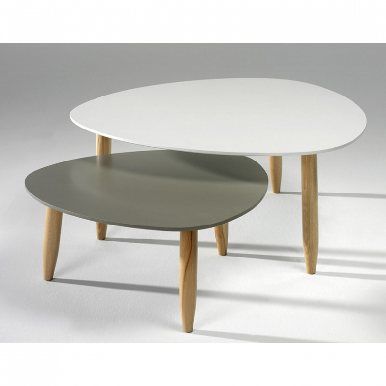 Table basse gigogne rubis coloris blanc / taupe
