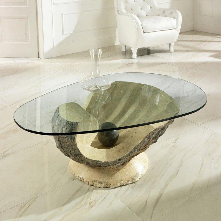Table basse en verre et pierre