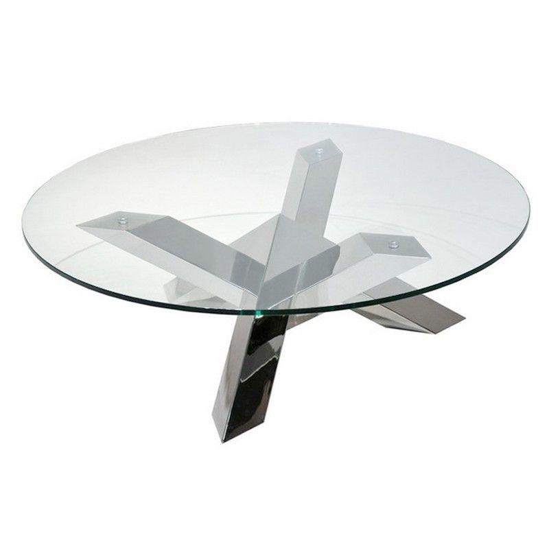 Table basse en verre pied inox