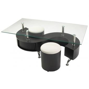 Table basse en verre avec pouf