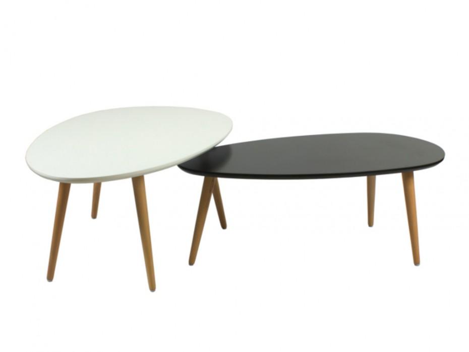 Table basse gigogne noir et blanc