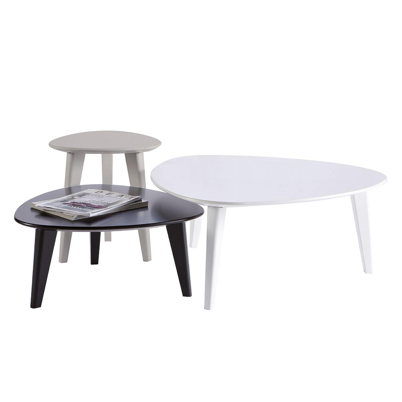 Table basse gigogne coloris blanc / noir